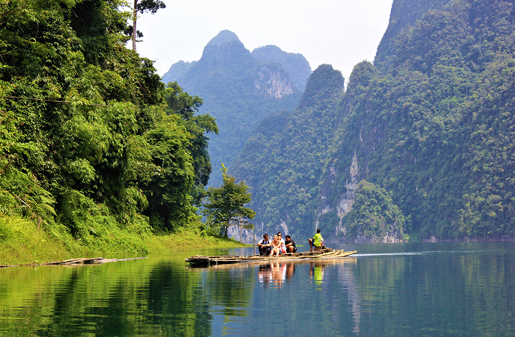 bamboo raft to coral cave